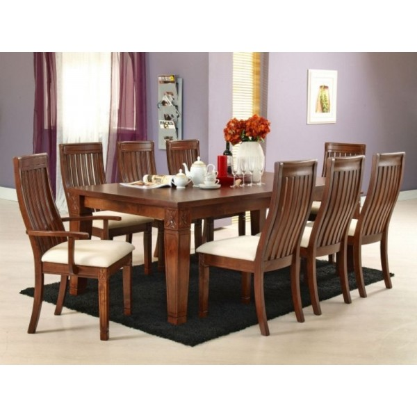 Lavender 8 Seater Dining Table with 2 arm chairs