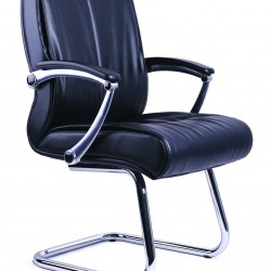 Black PVC Visitors Office Chair PS04