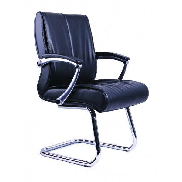 Office Chair |  Black PVC Visitors Office Chair PS04