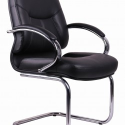 Black PVC Visitors Office Chair TGC04