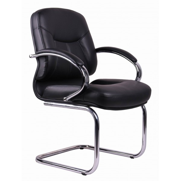 Office Chair | Black PVC Visitors Office Chair TGC04