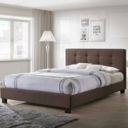 6 Feet Upholstered Bed in Grey or Brown Fabric