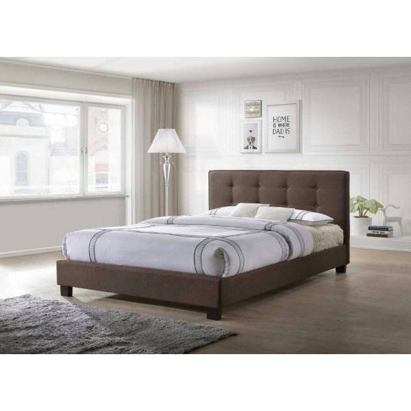 5 Feet Upholstered Bed in Grey or Brown Fabric