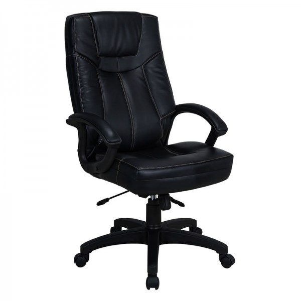 Executive High Black Chair in Black PVC | Office Chair