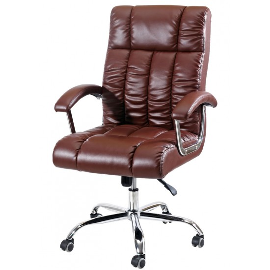 Executive Mid Back Chair In Brown Leather